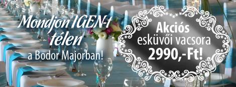 Az esküvőhelyszín specialista kiemelt ajánlata - Mondjon igent télen a Bodor Majorban!